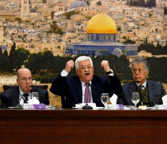 Abbas during his screaming rant in Ramallah yesterday.
