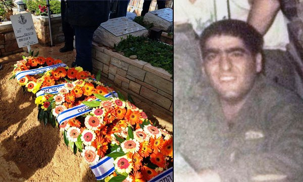 The 19-year-old Sgt. Avraham Ajami back in 1987. His grave at Holon Military Cemetery yesterday.