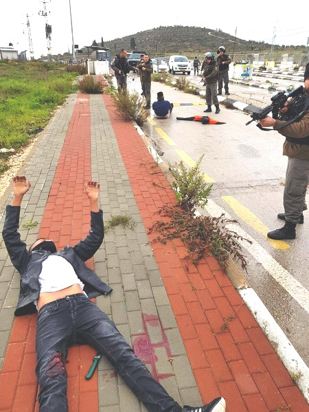 The scene at the Tapuach Junction today. Note the terrorist in the foreground on the sidewalk holding up his hands. Note the knife between his legs and that he has been shot in the legs. In the background is the other terrorist sitting on the road.