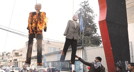 President Trump and Vice President Mike Pence hanged and burned in effigy by Palestinians in Bethlehem.