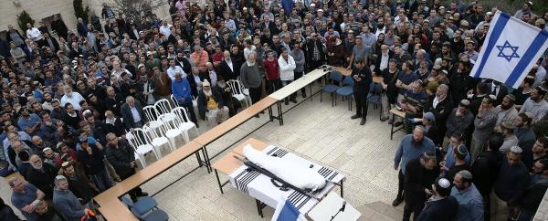 The body of Itamar at the funeral yesterday.