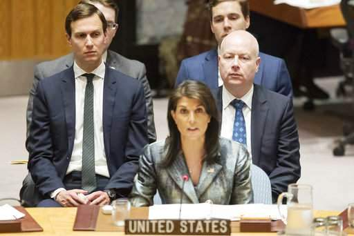 Nikki Haley, flanked by Jared Kushner and Jason Greenblatt (picture Beloit News).