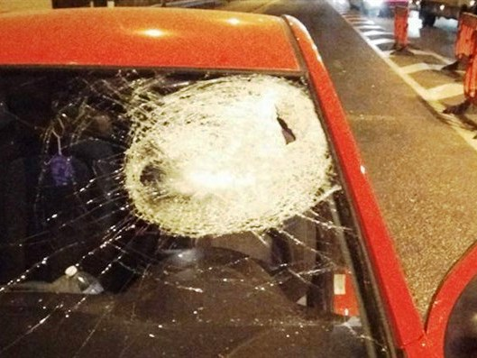 "Can you imagine driving your car, covered with blood, after being hit by a ""rock"" like this?"