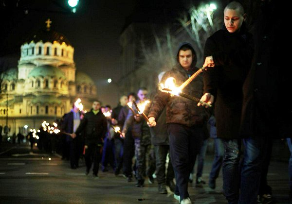 """Neo Nazis marching in Sofia last night. It is abominable what the world now permits in the name of """"free speech."""""""