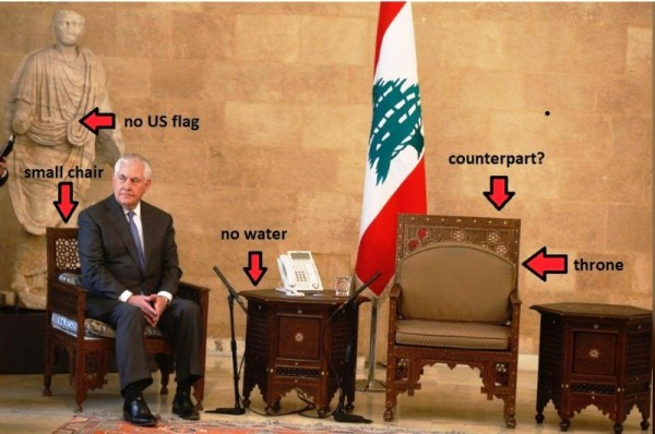 U.S. Secretary of State waiting on his Lebanese counterpart Gebran Bassil to arrive . This picture and captions appeared on a Lebanese facebook page.