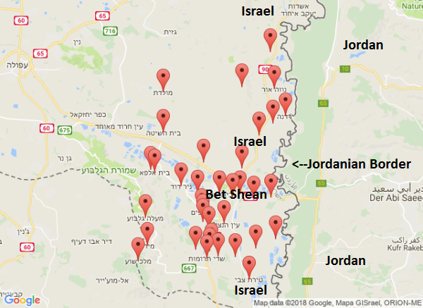 The Bet Shean Valley along the Jordanian Border. Each red pinpoint is where alarms were sounded.