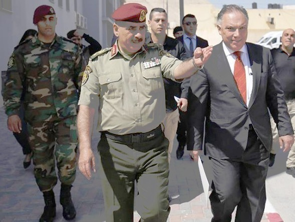 """Jericho yesterday: the man on the right in the suit is the Turkish Consul to """"East"""" Jerusalem. Accompanying him is the head of the PLO military."""