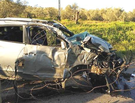 This is the car used by the Palestinian terrorist a few hours ago to run over murder Israelis (see below).