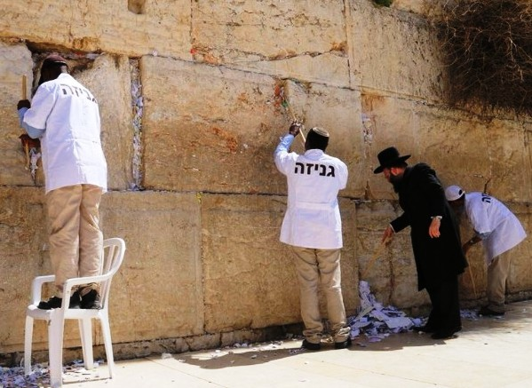 Just before Passover each year, the Rabbi of the Western Wall along with his workers remove the notes left in the Wall.
