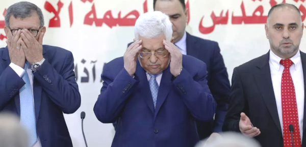 Speak no evil, hear no evil, see no evil: just be evil--leaders of the PLO led by Mahmoud Abbas in the middle (security guard behind him).