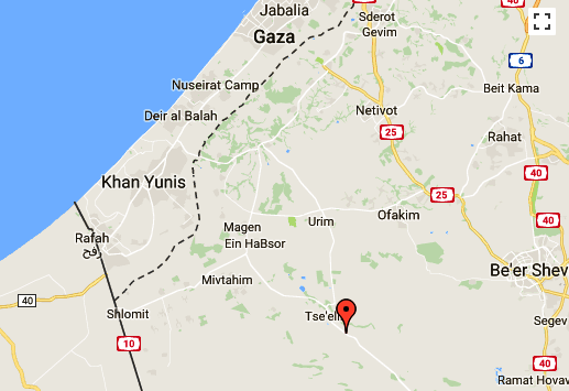 Note the distance from the dotted line which is the Gaza border to Tselim.