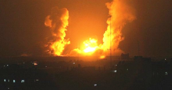 An IAF retaliatory response last night in northern Gaza (picture source: twitter feed from Gaza).