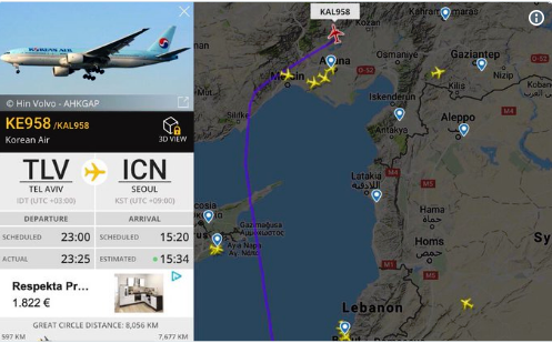 This morning, this Korean Air Flight from Tel Aviv to Seoul asked for a change of route to take it further away from the Lebanese and Syrian coasts.